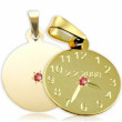 Křtící hodiny ze žlutého zlata s červeným kamínkem 20mm ZZ20.P10KR