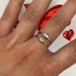 Zlatý prsten srdíčko bílé zlato
