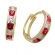 Zlaté náušnice kroužky červeno-bílé 051.00001
