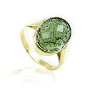 Zlatý prsten s oválným vltavínem 860.00098