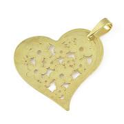 Přívěsek ze žlutého zlata srdce nesouměrné ploché s prořezanými květy 04.000.00014