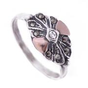 Prsten z portugalského stříbra s markazity a zirkonem 1AS-ISAN88