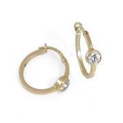 Zlaté náušnice kroužky s bílým kamínkem 010.00042