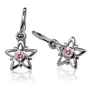 Zlaté dětské náušnice hvězdičky růžový kamínek 030.00219