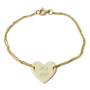 Zlatý náramek s destičkou ZZ10.srdce1717