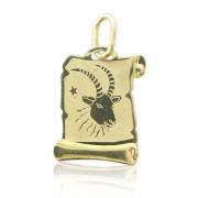 Zlatý přívěšek znamení Kozoroh na pergamenu 000.00083