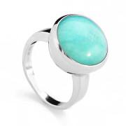 Stříbrný prsten s velkým kamenem amazonitem 070.00008