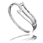 Zlatý prsten dvě vlnky se zirkony 010.00187