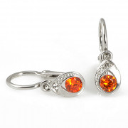Zlaté dětské náušnice slzičky oranžové kamínky 131.00144
