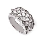 Ocelový prsten se zirkony široký vel. 53 010.00008