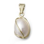 Zlatý přívěsek s bílou perlou 740.00007