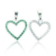 Zlatý přívěs srdce zeleno-bílé oboustranné 101.00003