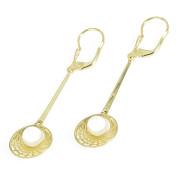 Zlaté visací náušnice s bílou perlou 200.00030