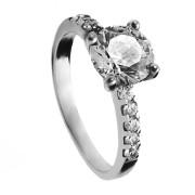 Zlatý prsten se zirkony bílé zlato 010.00146