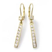 Zlaté visací náušnice se zirkony kravatky 010.00051