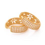 Stříbrné náušnice kroužky pozlacené se zirkony Beneto AGUC144 010.00010