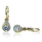 Zlaté dětské náušnice slzičky s modrým kamínkem 071.00002