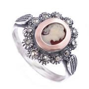 Prsten z portugalského stříbra s kamejí 1AF7773