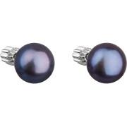 Stříbrné náušnice s tmavou říční perlou 21004.3