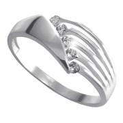 Prsten z bílého zlata s pěti zirkony a průřezy 010.00167