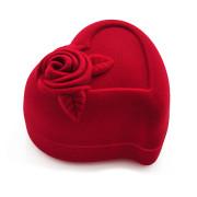 Krabička na šperky sametové srdce bordó 18504-15