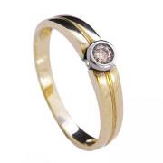 Dámský zlatý prsten s kulatým briliantem 990.00020
