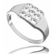Zlatý prsten čtvereček s devíti zirkony 010.00121