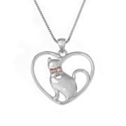 Stříbrný náhrdelník srdíčko s kočkou AGS520