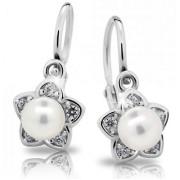 Stříbrné naušnice s  perličkou a zirkony, květ C 2387 201.00021