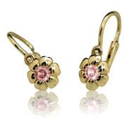 Zlaté dětské náušnice kytičky růžové kamínky 030.00158