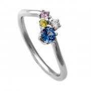 Stříbrný prsten s barevnými kameny K2633