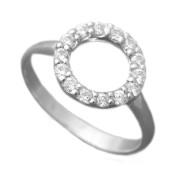 Stříbrný prsten zirkonové kolečko 010.00349