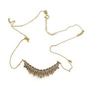 Zlatý náhrdelník s barevnými kamínky 211.00004