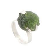 Prsten z bílého zlata s vltavínem 01.861.00001