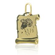 Zlatý přívěsek znamení Beran na pergamenu 000.00067
