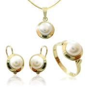 Luxusní souprava zlatých šperků s perlou 740.00001