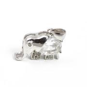Stříbrný přívěsek  slon -stylizovaný, bílé kameny(velký+malé) 08.010.00060