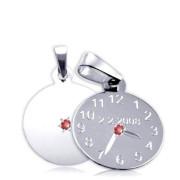 Křtící hodiny z bílého zlata s červeným kamínkem 15mm ZZ15.P11KR