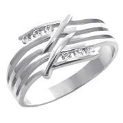Prsten z bílého zlata se šesti zirkony a průřezy 010.00169