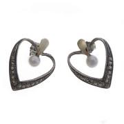 Stříbrné náušnice srdce s perlou 1B7-ISBR1066
