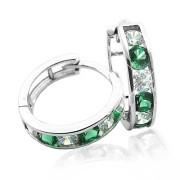 Zlaté náušnice kroužky zeleno-bílé 111.00002