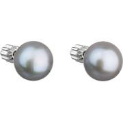 Stříbrné náušnice s šedou říční perlou 21004.3