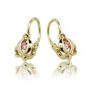 Zlaté dětské náušnice s růžovým kamínkem 030.00157