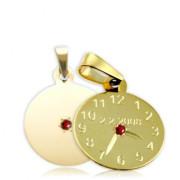 Zlatý přívěsek křtící hodiny s českým granátem ZZ15.P10CG