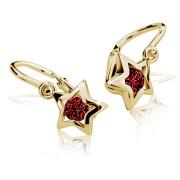 Zlaté dětské náušnice hvězdičky červený kamínek 050.00013