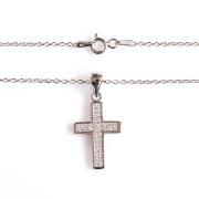 Stříbrný náhrdelník přívěs křížek s řetízkem Beneto AGS07/45  010.00036