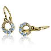 Zlaté dětské náušnice kolečka modro-bílé 901.00011