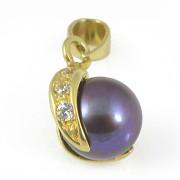 Přívěsek žluté zlato tmavá perla ve zlatých lístcích s bílými kameny 12.201.00036