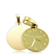 Křtící hodinky žluté zlato P10  s rytím, průměr 15mm
