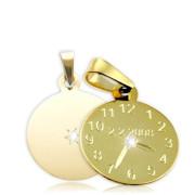 Křtící hodiny ze žlutého zlata s bílým kamínkem 15mm ZZ15.P10KB